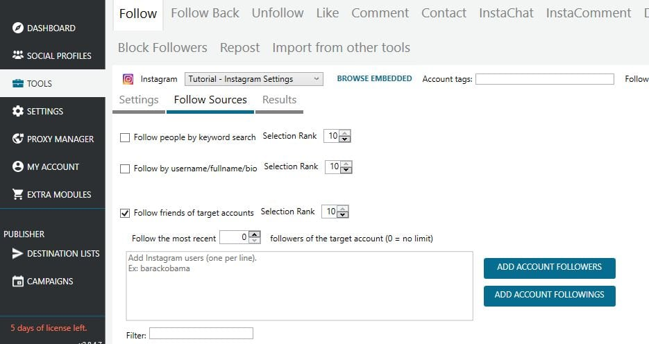 mass planner instagram settings follow sources