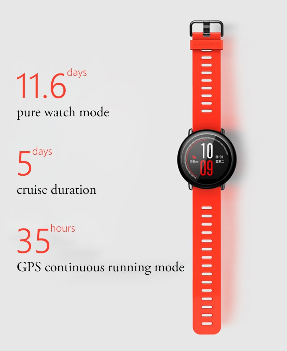 xiaomi amazfit smartwatch battery life