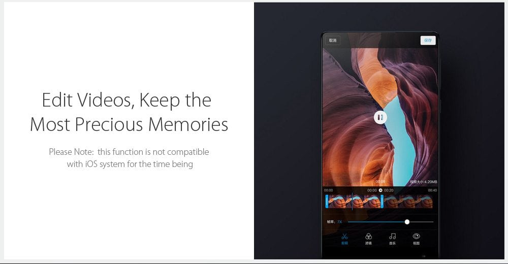 MiHome App can be used to edit, and share photos and videos