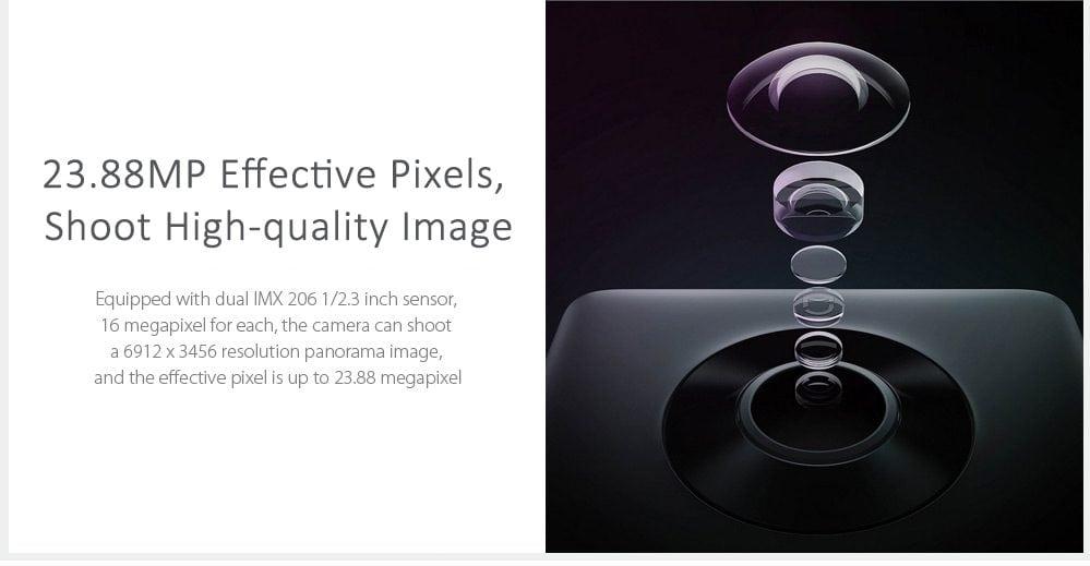 Xiaomi Mijia 3.5K Panorama has got dual-16MP sensors, however the effective pixel accounts for 23.88MP