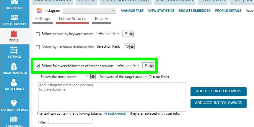 social media automation Jarvee follow settings follow sources best