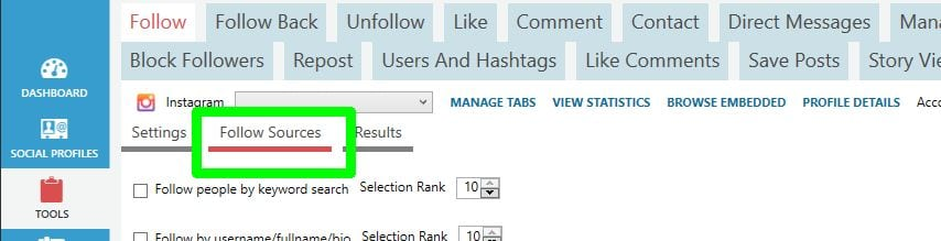 social media automation Jarvee follow settings follow sources