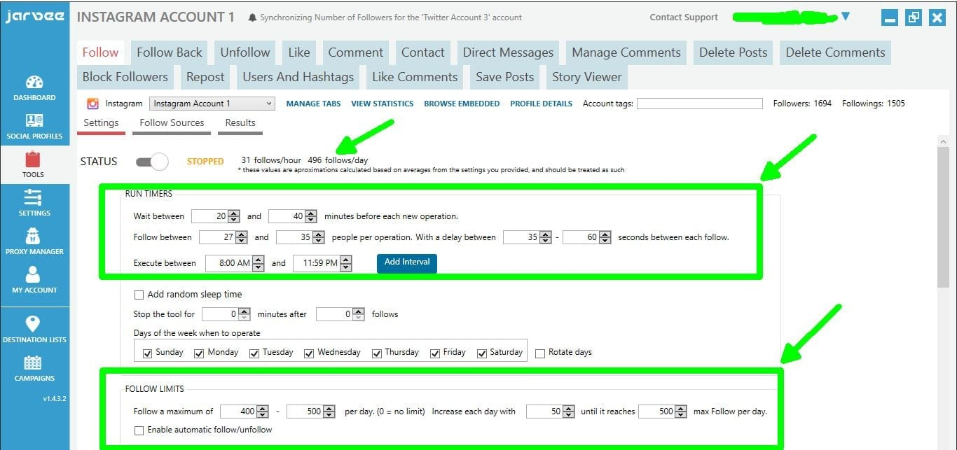 social media automation Jarvee follow settings