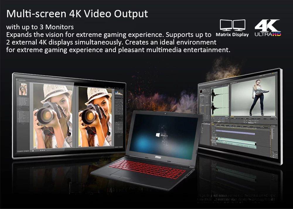 MSI GL62M 7REX two 4K monitors review