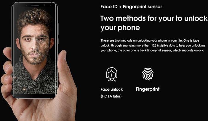 elephone u pro face scanner