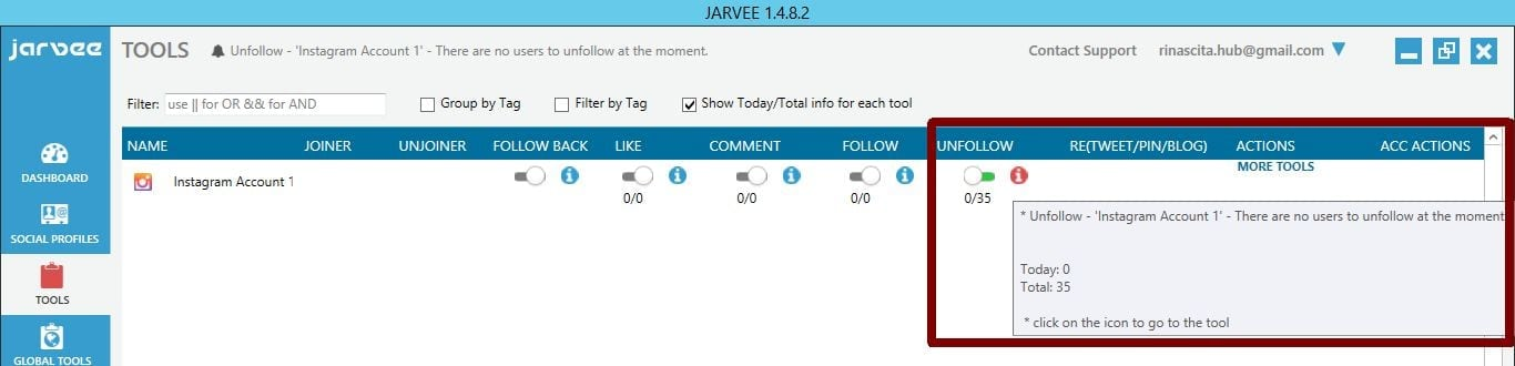 no more users to unfollow jarvee