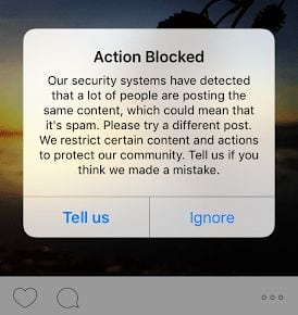 Instagram account disabled