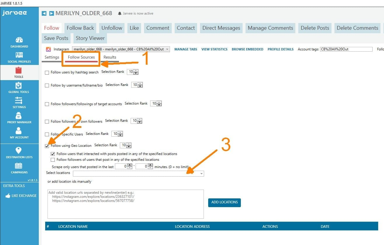 Tutorial targeting instagram users in specific locations using setting up target sources jarvee ccuart Choice Image