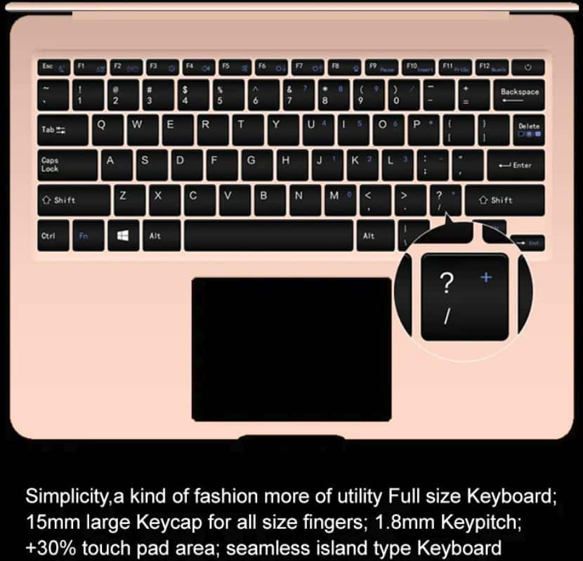 AIWO i8 Notebook keyboard